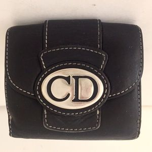 Christian Dior CD Logo Vintage Luxe Leather Wallet